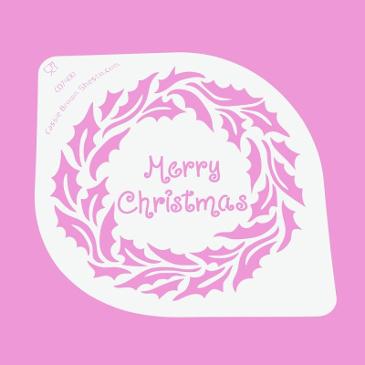 Cakecraft Holly Wreath Merry Christmas Stencil