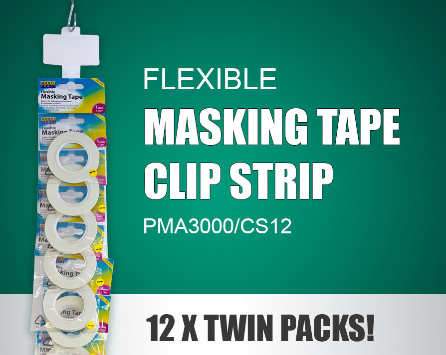 PMA3000/CS12 FLEXIBLE MASKING TAPE CLIP STRIP (12 X TWIN PACKS)