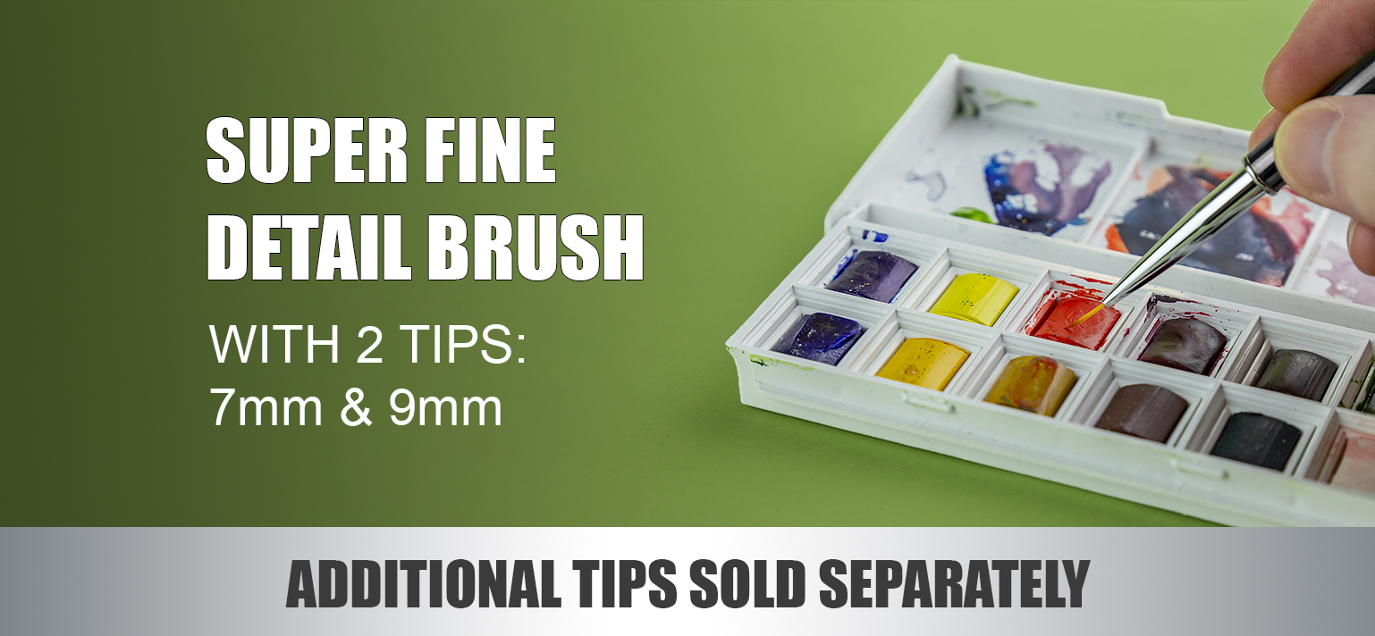 MODELCRAFT SUPER FINE DETAIL BRUSH WITH 2 TIPS (7MM & 9MM)