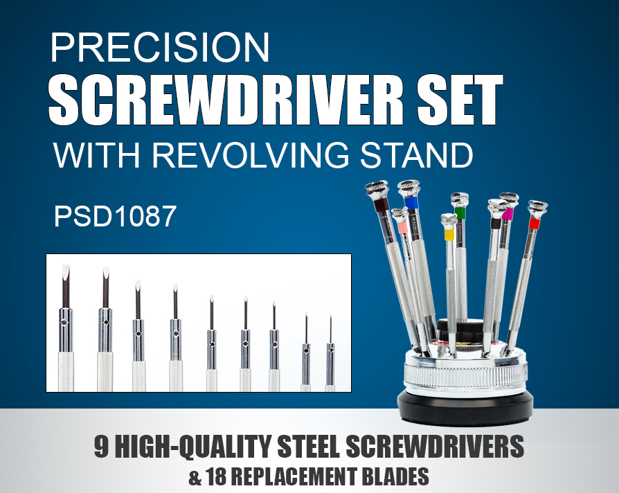 MODELCRAFT 9 PIECE PRECISION SCREWDRIVER SET WITH REVOLVING STAND